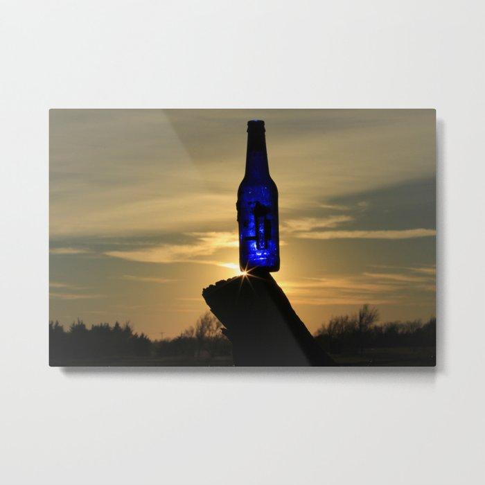Blue Bottle Sunset #3 Metal Print