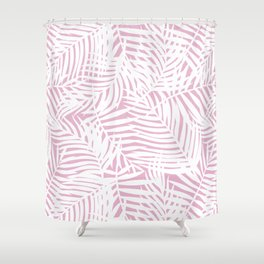 Tropical Pink Leaves Shower Curtain