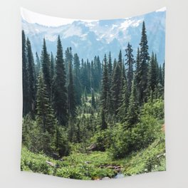 Mount Rainier Classic Mountain Meadow - 129/365 Nature Photography Wall Tapestry
