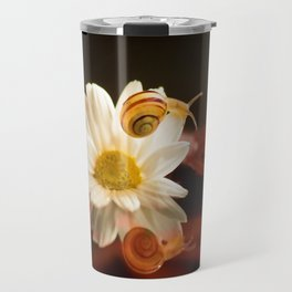Baby Snail on a flower in the water  Travel Mug