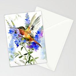 Alen's Hummingbird and Blue Flowers, floral bird design birds, watercolor floral bird art Stationery Cards