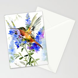 Alen's Hummingbird and Blue Flowers, floral bird design birds, watercolor floral bird art Stationery Cards