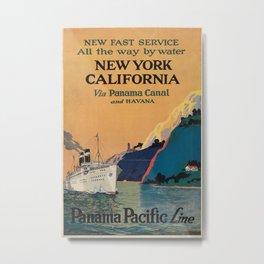 New York California Vintage Travel Poster Metal Print