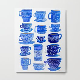 Coffee Mugs and Teacups - A study in blues Metal Print