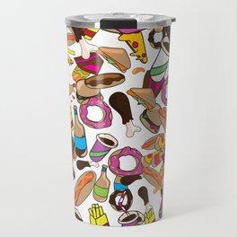 Cartoon Junk food pattern. Travel Mug