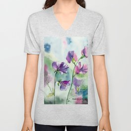 Sweet Pea Watercolour Painting Unisex V-Neck