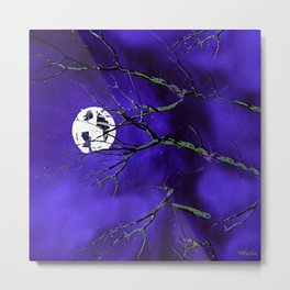 Tree Branches and a Silver Moon Metal Print