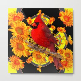 RED CARDINAL SUNFLOWERS BLACK ART Metal Print