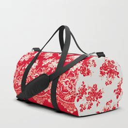 small bouquets in bright red with border Duffle Bag