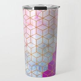 Gold Hexagons + Purple Watercolor Travel Mug