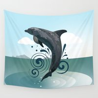 dolphin Wall Tapestries featuring Dolphin by Adamzworld