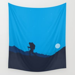 Hiker At Blue Winter Night Wall Tapestry