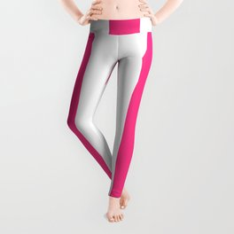 Barbie Pink (2004-2005) - solid color - white vertical lines pattern Leggings