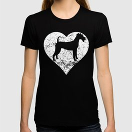 Distressed Irish Terrier Heart Dog Owner Graphic T-shirt