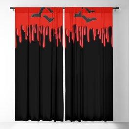 Red Blood & Black Bats Blackout Curtain
