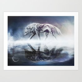 Black and White Wolf Reflection Art Print