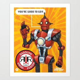 Red Rocket Robot Art Print