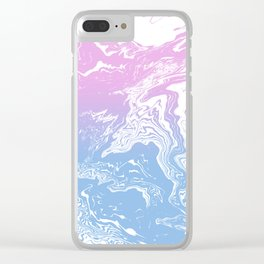 Suminagashi marble pastel pink and blue minimal watercolor spilled ink swirl Clear iPhone Case