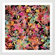 watercolor meadow black Art Print