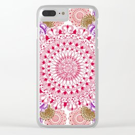 Red, Brown, and Purple Mandala Pattern Clear iPhone Case