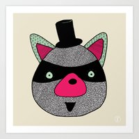racoon Art Prints featuring Racoon by nataly