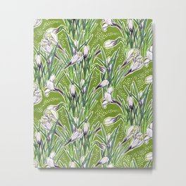 Crocuses Garden Flowers Botanical Floral Pattern Chartreuse  Metal Print