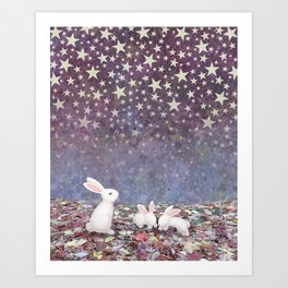 bunnies under the stars Art Print