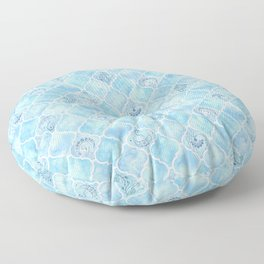 Watercolor Arabesque Tiles with Art Nouveau Focal Designs in Blue Floor Pillow
