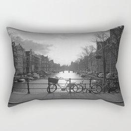 Biking in Amsterdam #blackandwhite#amsterdam Rectangular Pillow