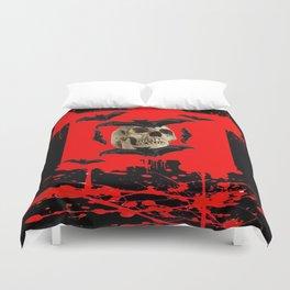 BAT INFESTED HAUNTED SKULL ON BLEEDING RED ON RED  ART Duvet Cover
