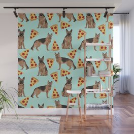 German Shepherd pizza party dog person gifts pet portraits dog breeds cheesy pizzas Wall Mural