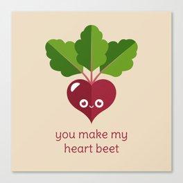 You Make My Heart Beet Canvas Print