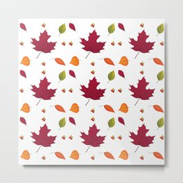 Autumn Fall Landscape Autumn Leaves Leaves Forest Metal Print