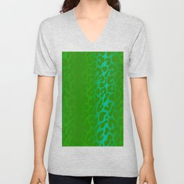 Bright Green Leopard Print Unisex V-Neck