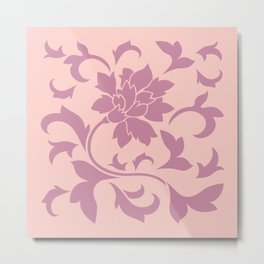 Flower Silhouette - Strawberry & Rose Quartz Metal Print