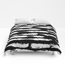 Paint Swipe White on Black Comforters