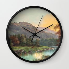 A Deer at the Edge of a Highland Stream nature landscape painting by William Henry Millais Wall Clock