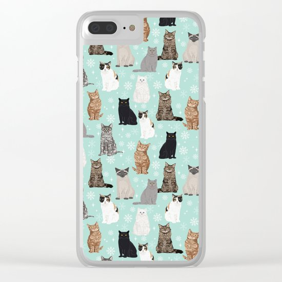 Cat snowflakes catsmas winter holiday pattern print pet portraits cat breed gifts Clear iPhone Case