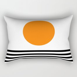 Orange Zen Sunset Minimalist Art Black Stripes Simple Art Rectangular Pillow