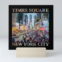 Times Square Tourists (on black) Mini Art Print