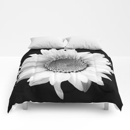 Sunflower In Black And White #decor #society6 #buyart Comforters