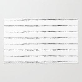 Minimal Simple White Background Black Lines Stripes Rug