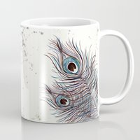 peacock Mugs featuring PEACOCK by Monika Strigel