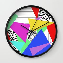 Bits And Pieces - Retro, random, abstract pattern Wall Clock