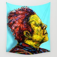 tom selleck Wall Tapestries featuring Tom Waits by Alec Goss
