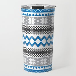 Winter Blue Pattern Travel Mug