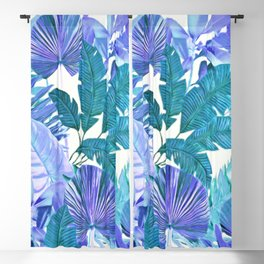 Tropical Leaf Blue Blackout Curtain