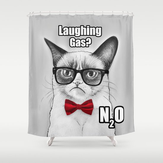 Grumpy Chemistry Cat Geek Science Meme Whimsical Animals in Glasses Shower Curtain
