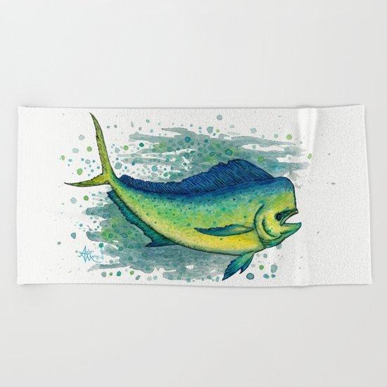 Mahi Mahi Splash ~ Watercolor & Ink Painting by Amber Marine Beach Towel