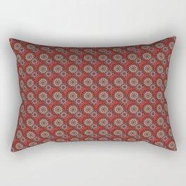 Garnet Red Mandala Pattern Rectangular Pillow